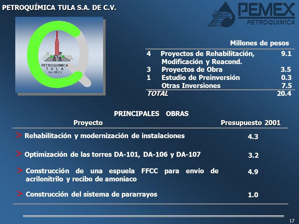 PETROQUIMICA 17 4 Proyectos de Rehabilitación, 9.1 Modificación y Reacond. 3 Proyectos de Obra 3.5 1Estudio de Preinversión 0.3 Otras Inversiones 7.5