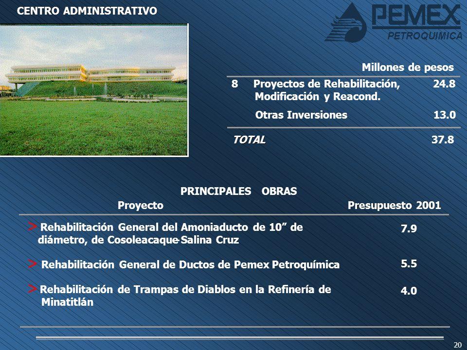 PETROQUIMICA 20 PETROQUIMICA 8 Proyectos de Rehabilitación,24.8 Modificación y Reacond. Otras Inversiones13.0 TOTAL 37.8 Millones de pesos CENTRO ADMI