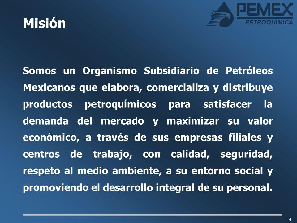 PETROQUIMICA 4 Somos un Organismo Subsidiario de Petróleos Mexicanos que elabora, comercializa y distribuye productos petroquímicos para satisfacer la