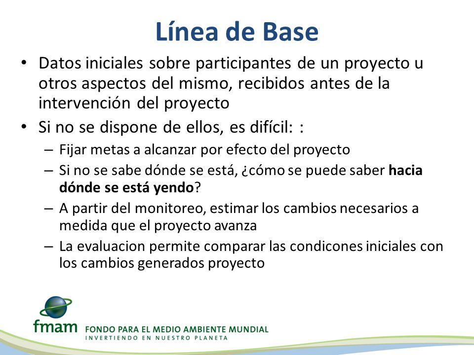 Línea de Base Datos iniciales sobre participantes de un proyecto u otros aspectos del mismo, recibidos antes de la intervención del proyecto Si no se