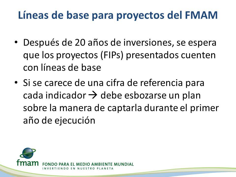 Líneas de base para proyectos del FMAM Después de 20 años de inversiones, se espera que los proyectos (FIPs) presentados cuenten con líneas de base Si