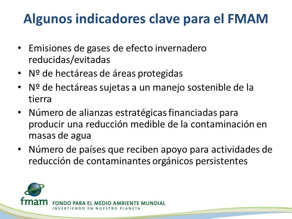 Algunos indicadores clave para el FMAM Emisiones de gases de efecto invernadero reducidas/evitadas Nº de hectáreas de áreas protegidas Nº de hectáreas