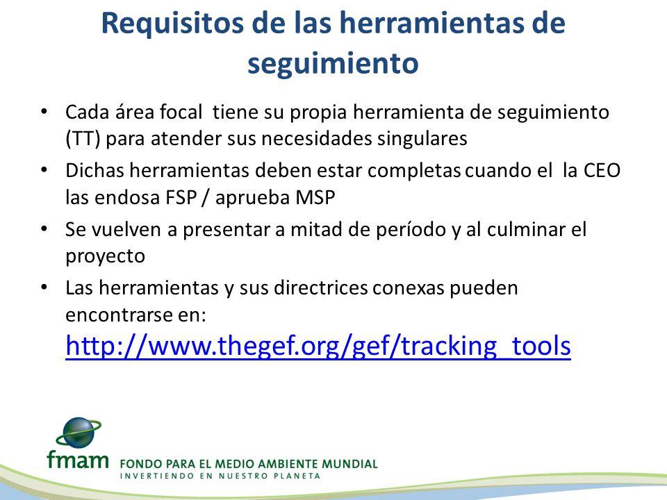 Requisitos de las herramientas de seguimiento Cada área focal tiene su propia herramienta de seguimiento (TT) para atender sus necesidades singulares