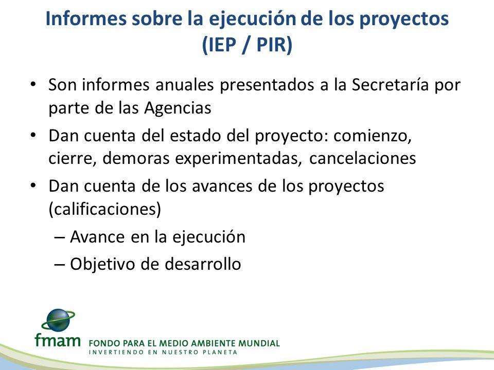 Informes sobre la ejecución de los proyectos (IEP / PIR) Son informes anuales presentados a la Secretaría por parte de las Agencias Dan cuenta del est