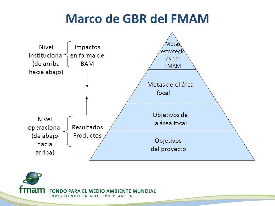 Marco de GBR del FMAM Objetivos del proyecto Metas de el área focal Metas estratégic as del FMAM Objetivos de la área focal Impactos en forma de BAM R