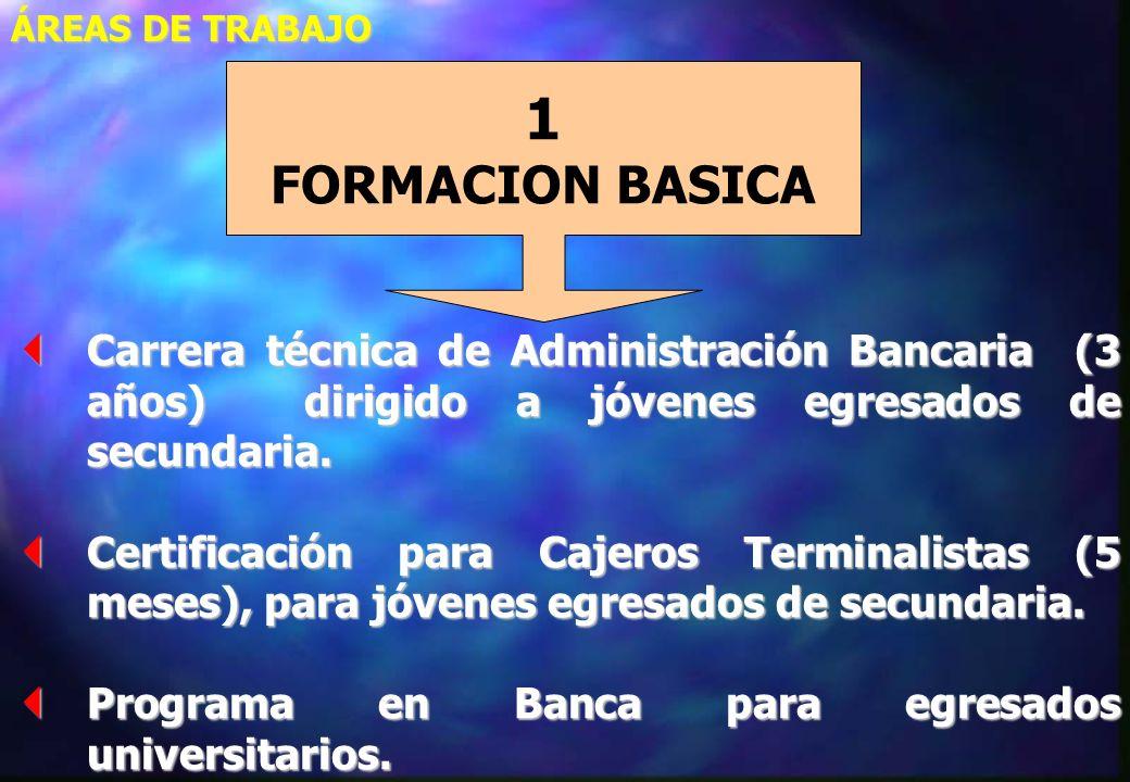 ÁREAS DE TRABAJO 2 CURSOS DE ACTUALIZACION Y ESPECIALIZACIÓN 1 FORMACION BASICA PARA JOVENES 3 DIPLOMADOS INTERNACIONALES EN BANCA 4 PROGRAMAS ESPECIALES