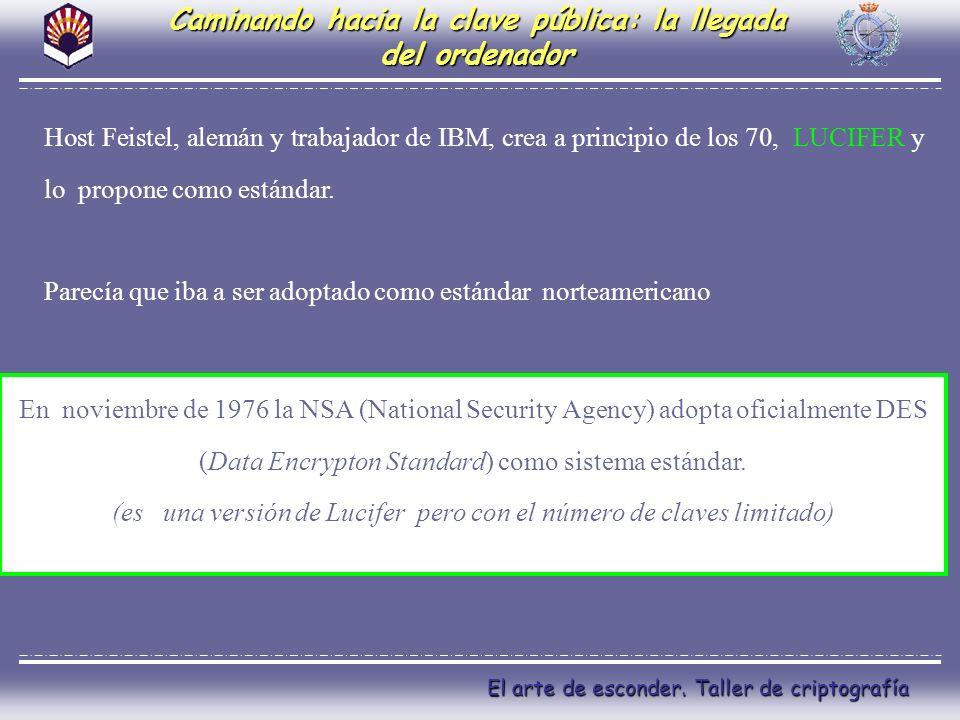 El arte de esconder. Taller de criptografía Caminando hacia la clave pública: la llegada del ordenador Host Feistel, alemán y trabajador de IBM, crea