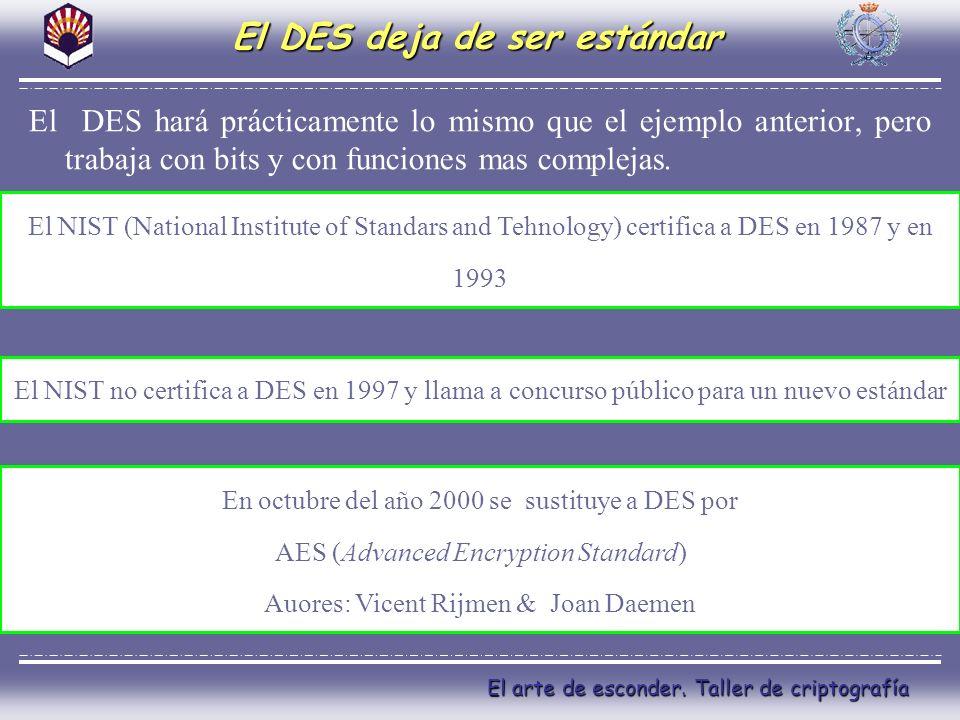 El arte de esconder. Taller de criptografía El DES deja de ser estándar El DES hará prácticamente lo mismo que el ejemplo anterior, pero trabaja con b