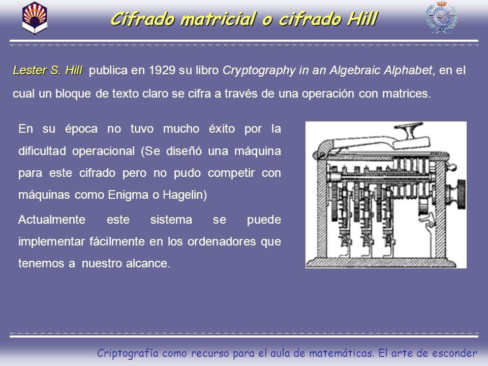 Criptografía como recurso para el aula de matemáticas. El arte de esconder Cifrado matricial o cifrado Hill Lester S. Hill Lester S. Hill publica en 1