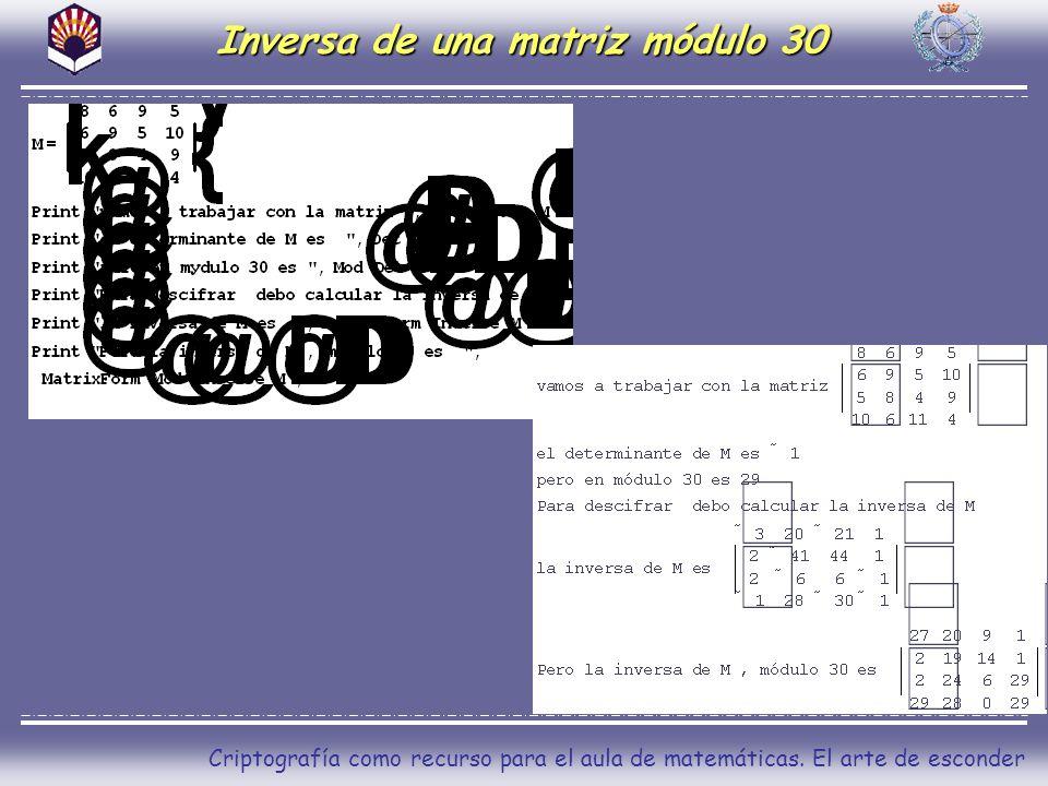 Criptografía como recurso para el aula de matemáticas. El arte de esconder Inversa de una matriz módulo 30