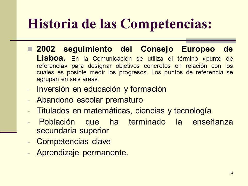 14 Historia de las Competencias: 2002 seguimiento del Consejo Europeo de Lisboa. En la Comunicación se utiliza el término «punto de referencia» para d