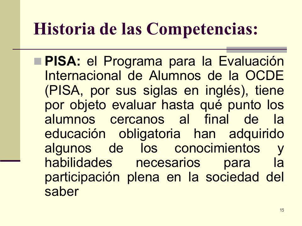15 Historia de las Competencias: PISA: el Programa para la Evaluación Internacional de Alumnos de la OCDE (PISA, por sus siglas en inglés), tiene por