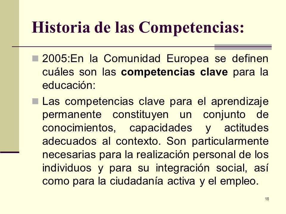 18 Historia de las Competencias: 2005:En la Comunidad Europea se definen cuáles son las competencias clave para la educación: Las competencias clave p