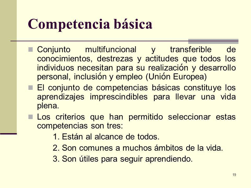 19 Competencia básica Conjunto multifuncional y transferible de conocimientos, destrezas y actitudes que todos los individuos necesitan para su realiz