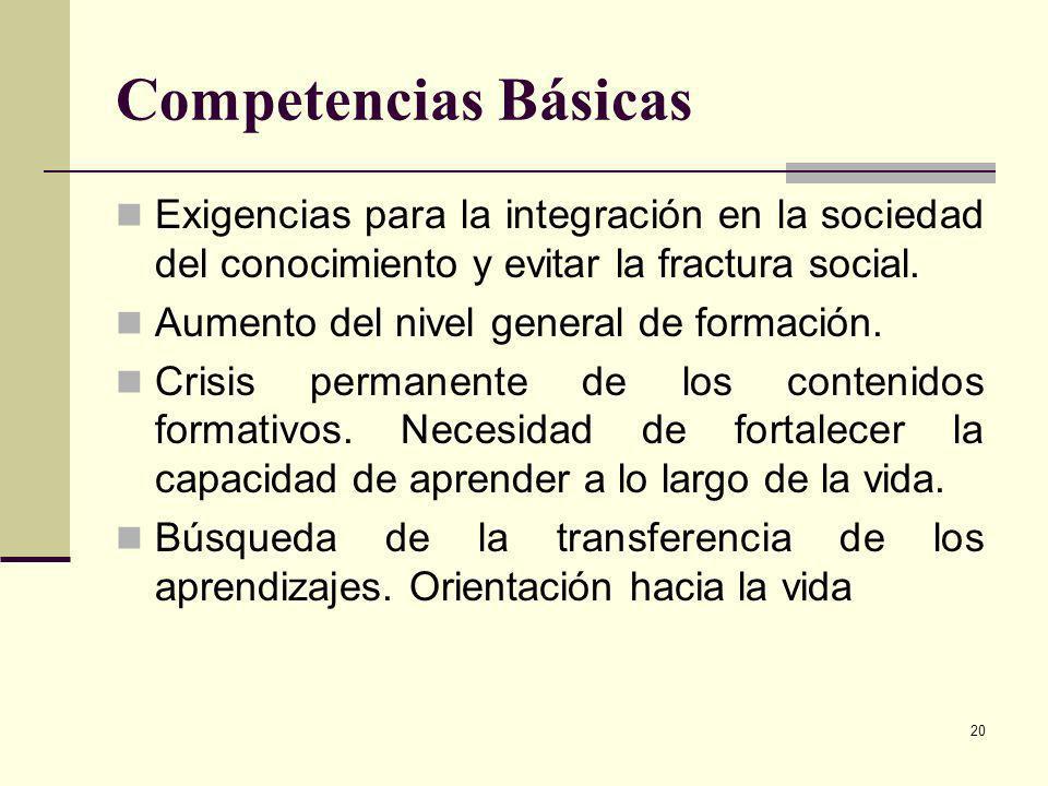 20 Competencias Básicas Exigencias para la integración en la sociedad del conocimiento y evitar la fractura social. Aumento del nivel general de forma