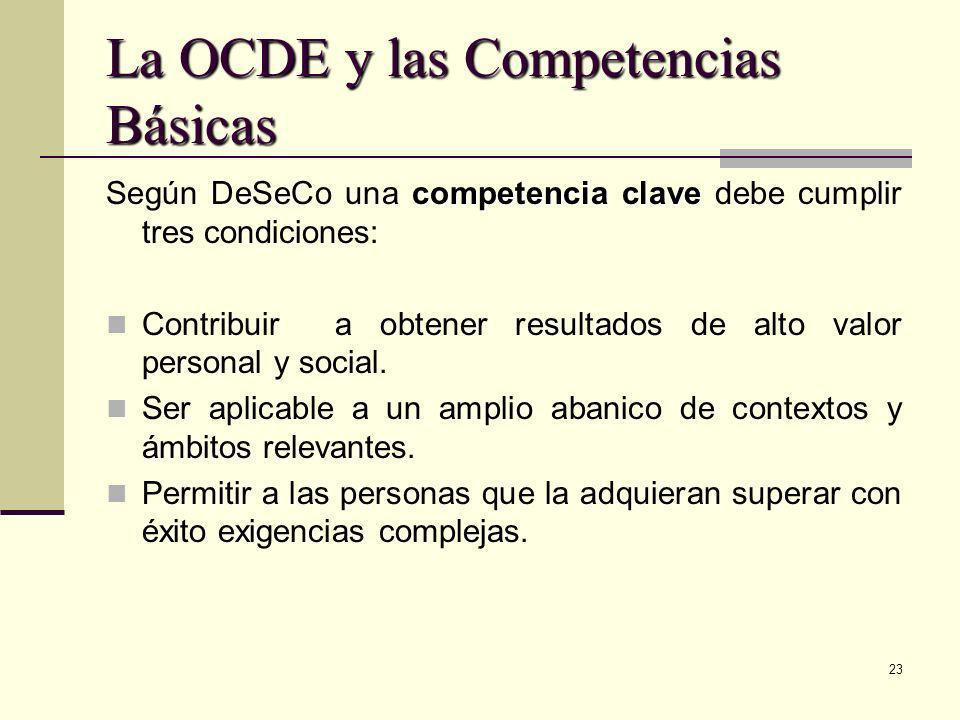 23 La OCDE y las Competencias Básicas competencia clave Según DeSeCo una competencia clave debe cumplir tres condiciones: Contribuir a obtener resulta