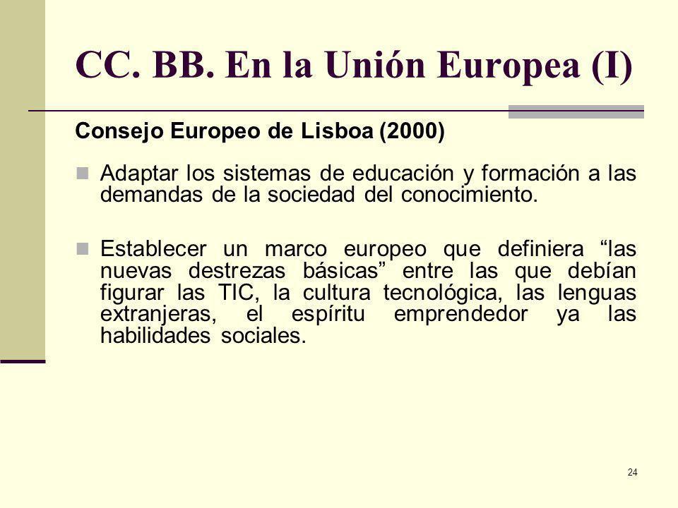 24 CC. BB. En la Unión Europea (I) Consejo Europeo de Lisboa (2000) Adaptar los sistemas de educación y formación a las demandas de la sociedad del co