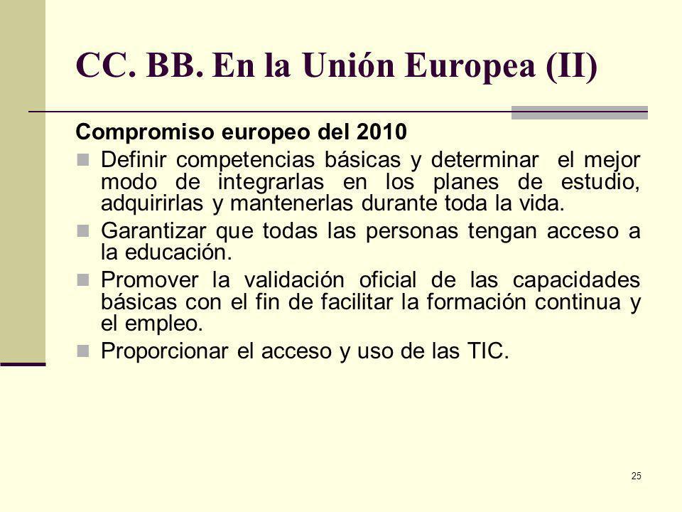 25 CC. BB. En la Unión Europea (II) Compromiso europeo del 2010 Definir competencias básicas y determinar el mejor modo de integrarlas en los planes d
