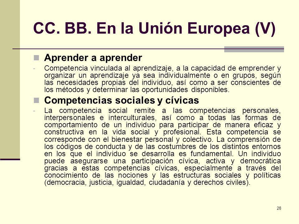 28 CC. BB. En la Unión Europea (V) Aprender a aprender - Competencia vinculada al aprendizaje, a la capacidad de emprender y organizar un aprendizaje