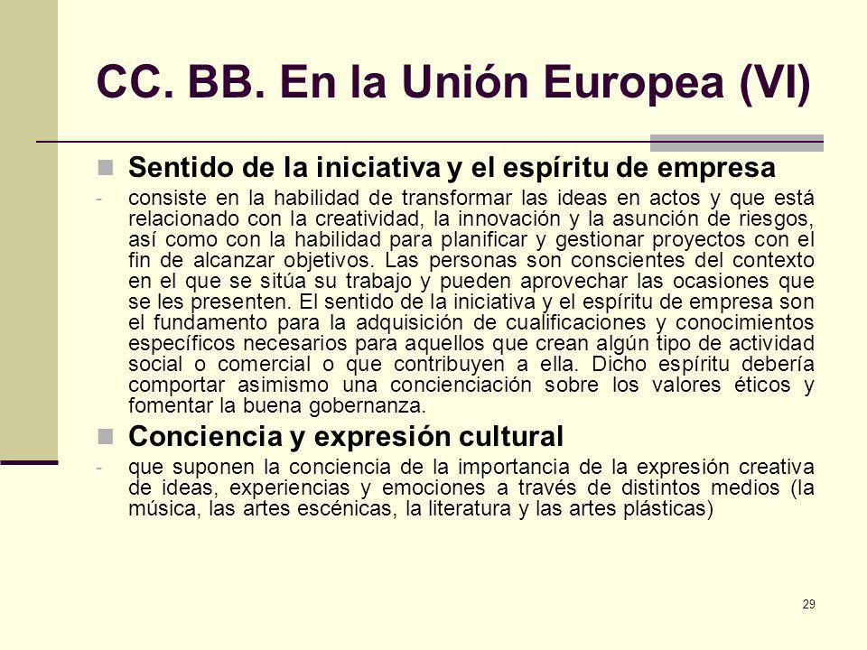 29 CC. BB. En la Unión Europea (VI) Sentido de la iniciativa y el espíritu de empresa - consiste en la habilidad de transformar las ideas en actos y q