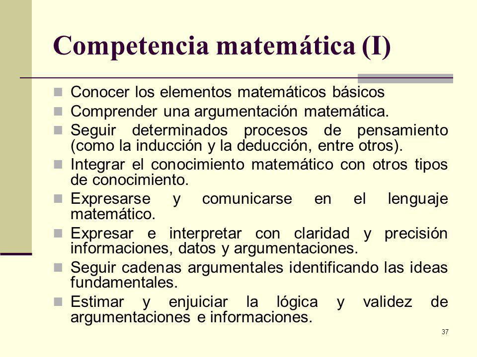 37 Competencia matemática (I) Conocer los elementos matemáticos básicos Comprender una argumentación matemática. Seguir determinados procesos de pensa