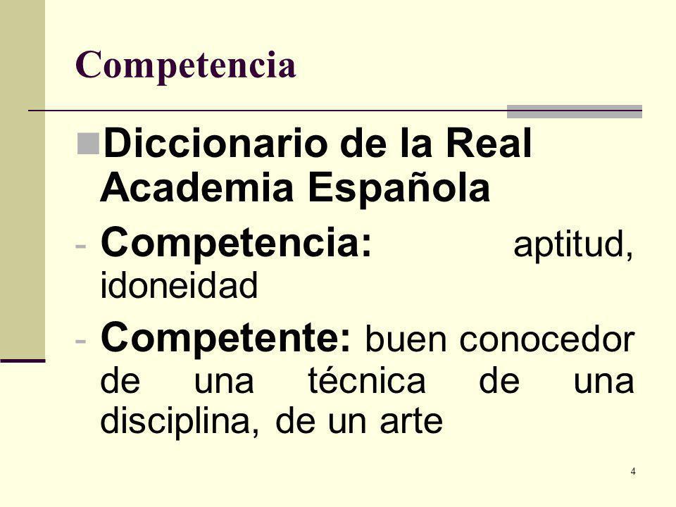4 Competencia Diccionario de la Real Academia Española - Competencia: aptitud, idoneidad - Competente: buen conocedor de una técnica de una disciplina