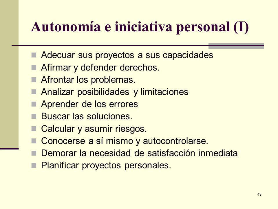 49 Autonomía e iniciativa personal (I) Adecuar sus proyectos a sus capacidades Afirmar y defender derechos. Afrontar los problemas. Analizar posibilid