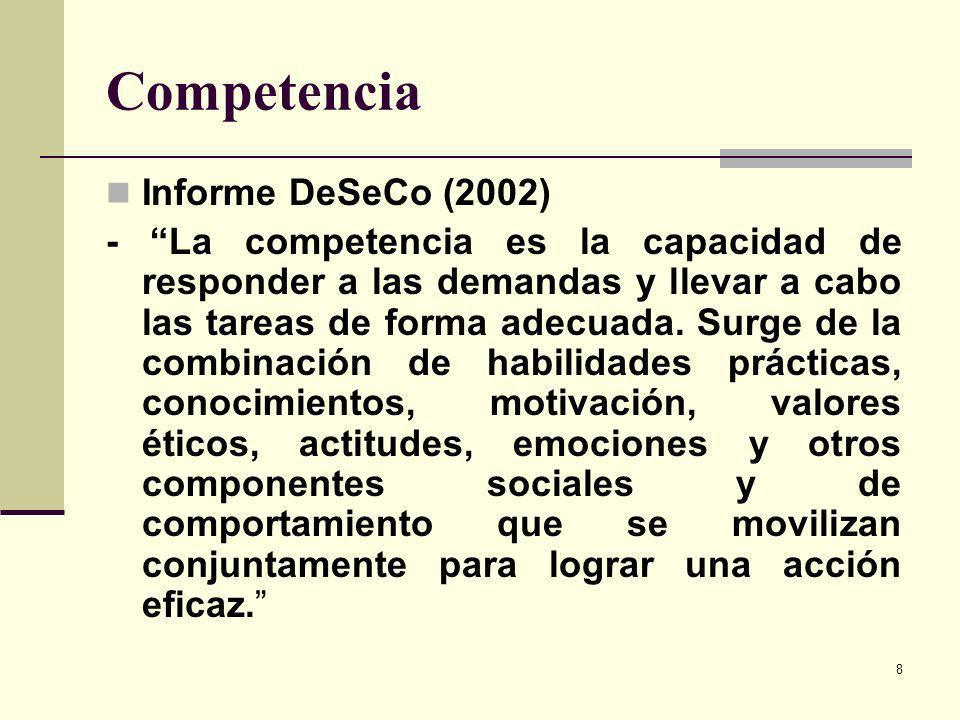 8 Competencia Informe DeSeCo (2002) - La competencia es la capacidad de responder a las demandas y llevar a cabo las tareas de forma adecuada. Surge d
