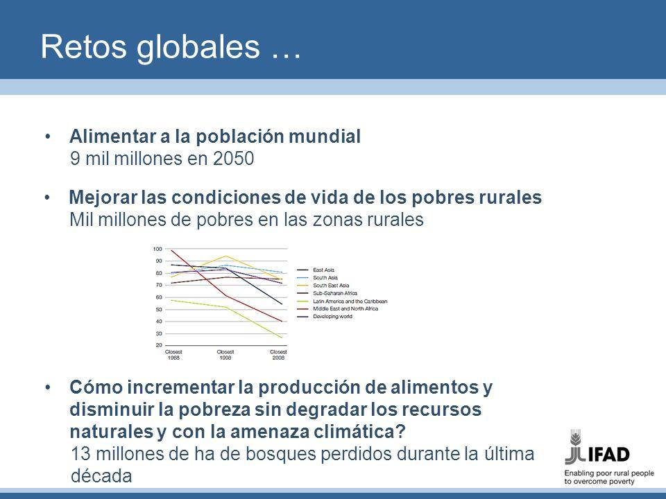Retos globales … Alimentar a la población mundial 9 mil millones en 2050 Mejorar las condiciones de vida de los pobres rurales Mil millones de pobres