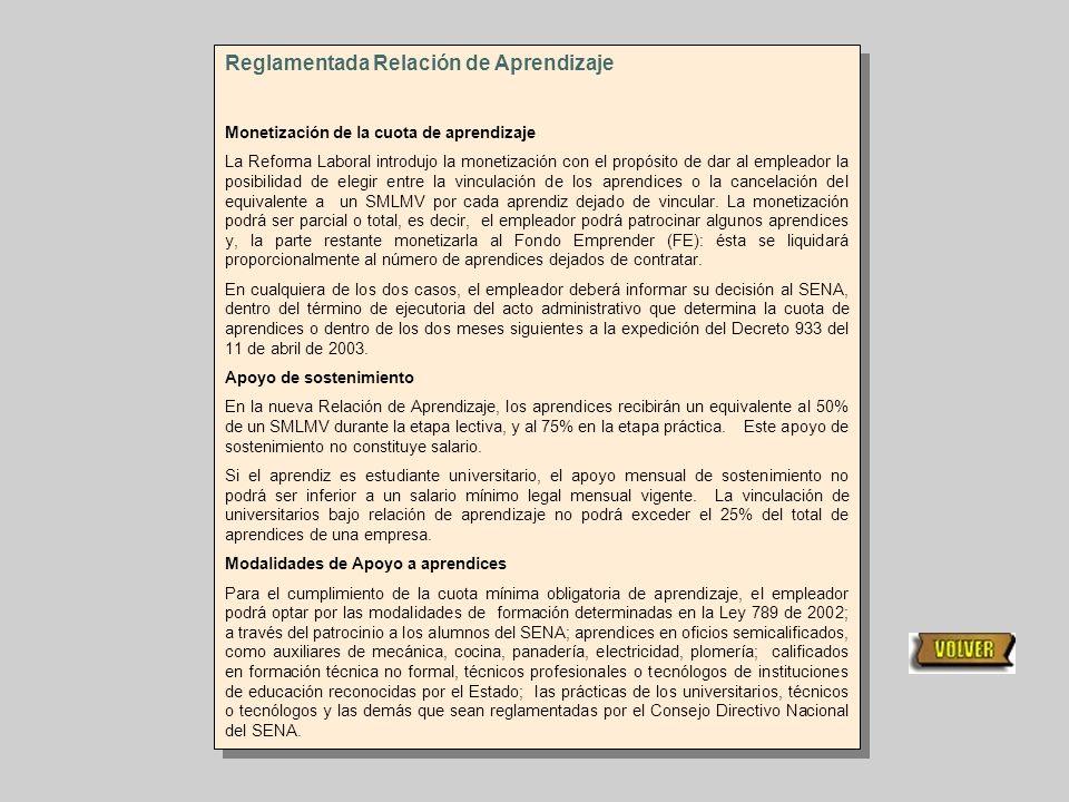 Reglamentada Relación de Aprendizaje De esta reglamentación se exceptúan las empresas del sector de la construcción, que hacen sus aportes al FIC –Fon