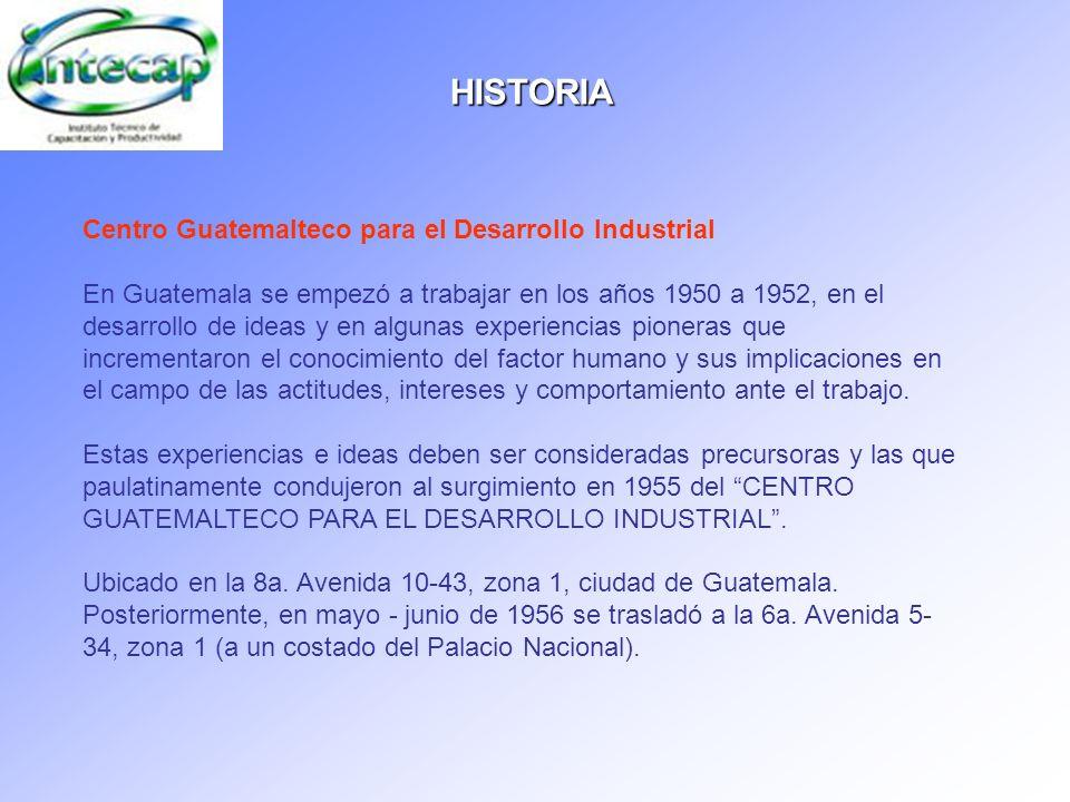 Centro Guatemalteco para el Desarrollo Industrial En Guatemala se empezó a trabajar en los años 1950 a 1952, en el desarrollo de ideas y en algunas ex