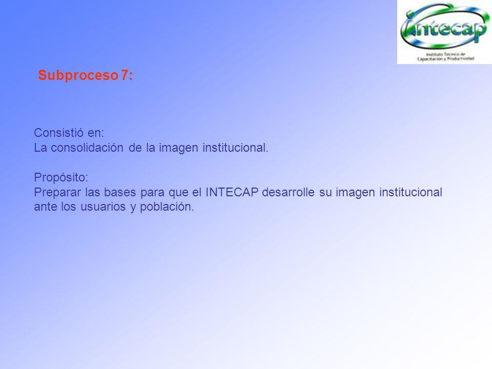 Consistió en: La consolidación de la imagen institucional. Propósito: Preparar las bases para que el INTECAP desarrolle su imagen institucional ante l