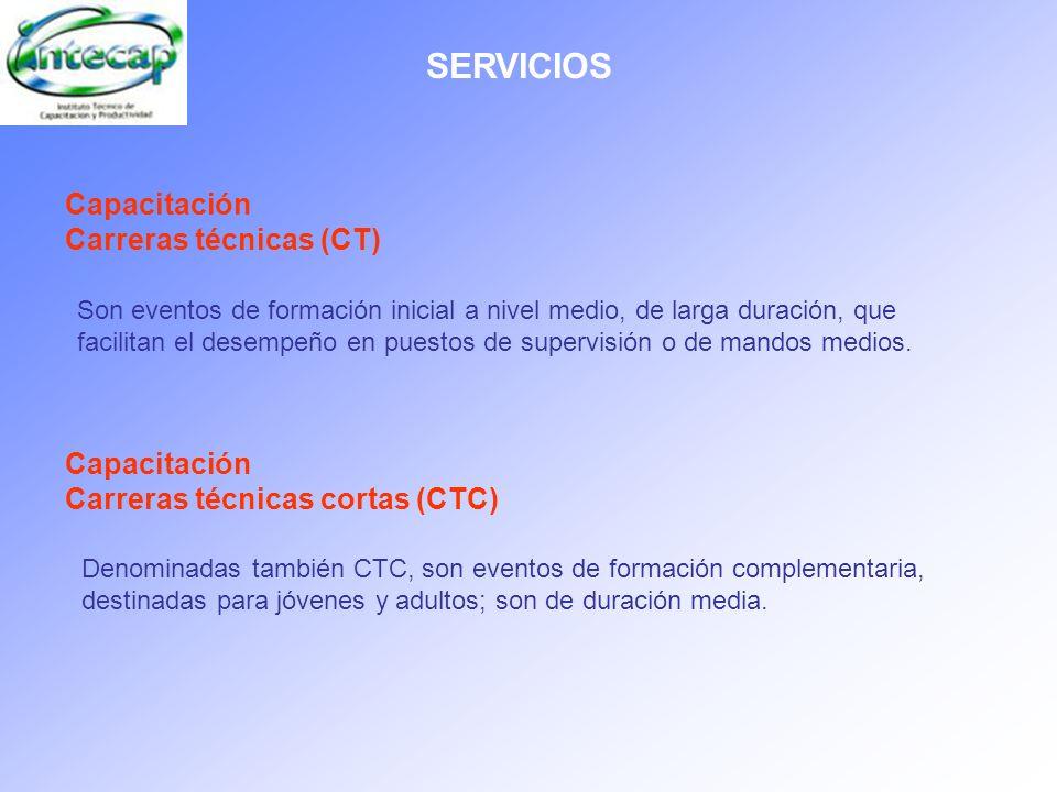 SERVICIOS Capacitación Carreras técnicas (CT) Son eventos de formación inicial a nivel medio, de larga duración, que facilitan el desempeño en puestos