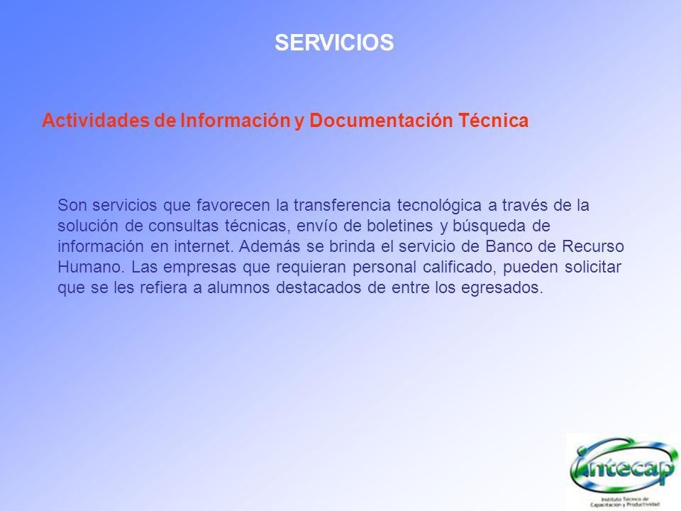 SERVICIOS Actividades de Información y Documentación Técnica Son servicios que favorecen la transferencia tecnológica a través de la solución de consu