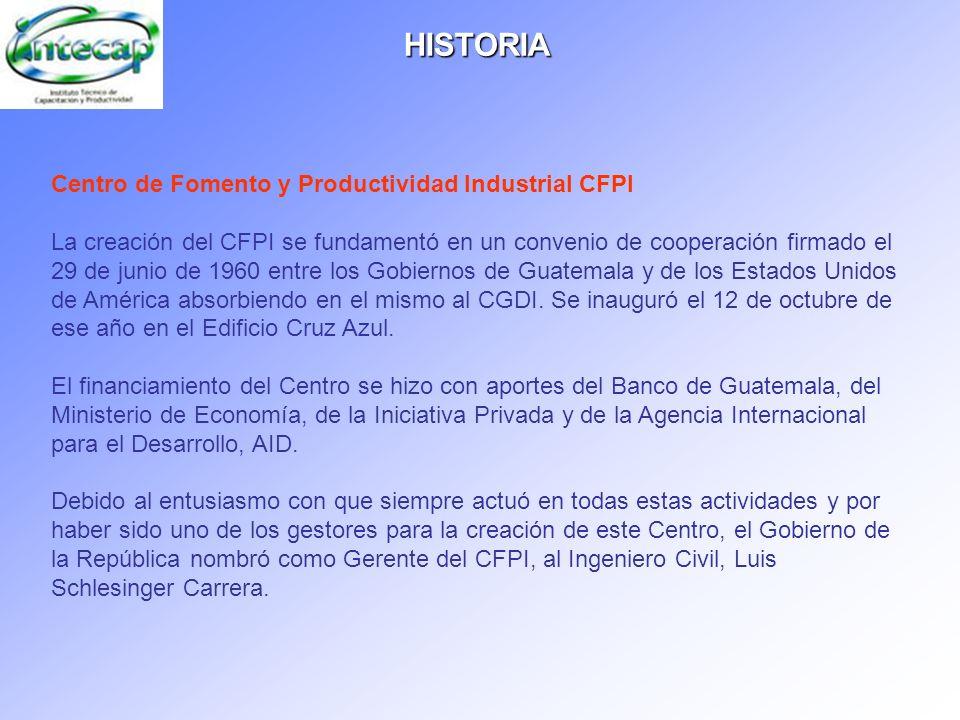 HISTORIA Centro de Fomento y Productividad Industrial CFPI La creación del CFPI se fundamentó en un convenio de cooperación firmado el 29 de junio de