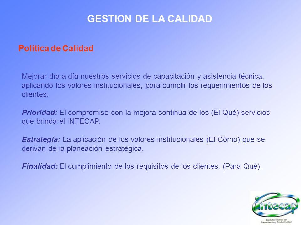 GESTION DE LA CALIDAD Política de Calidad Mejorar día a día nuestros servicios de capacitación y asistencia técnica, aplicando los valores institucion