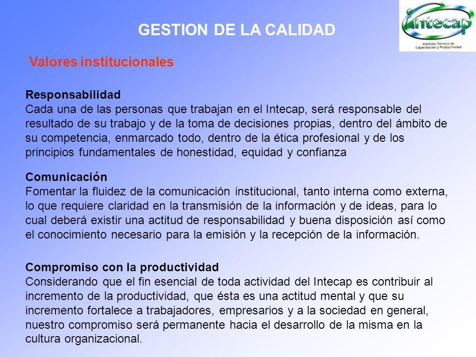 GESTION DE LA CALIDAD Valores institucionales Responsabilidad Cada una de las personas que trabajan en el Intecap, será responsable del resultado de s