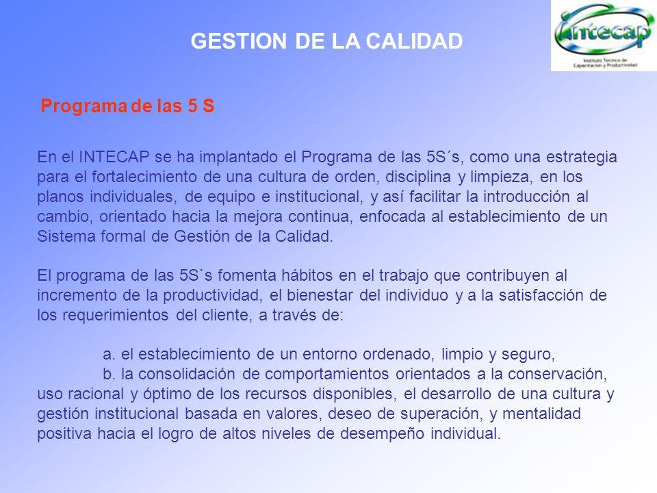 GESTION DE LA CALIDAD Programa de las 5 S En el INTECAP se ha implantado el Programa de las 5S´s, como una estrategia para el fortalecimiento de una c