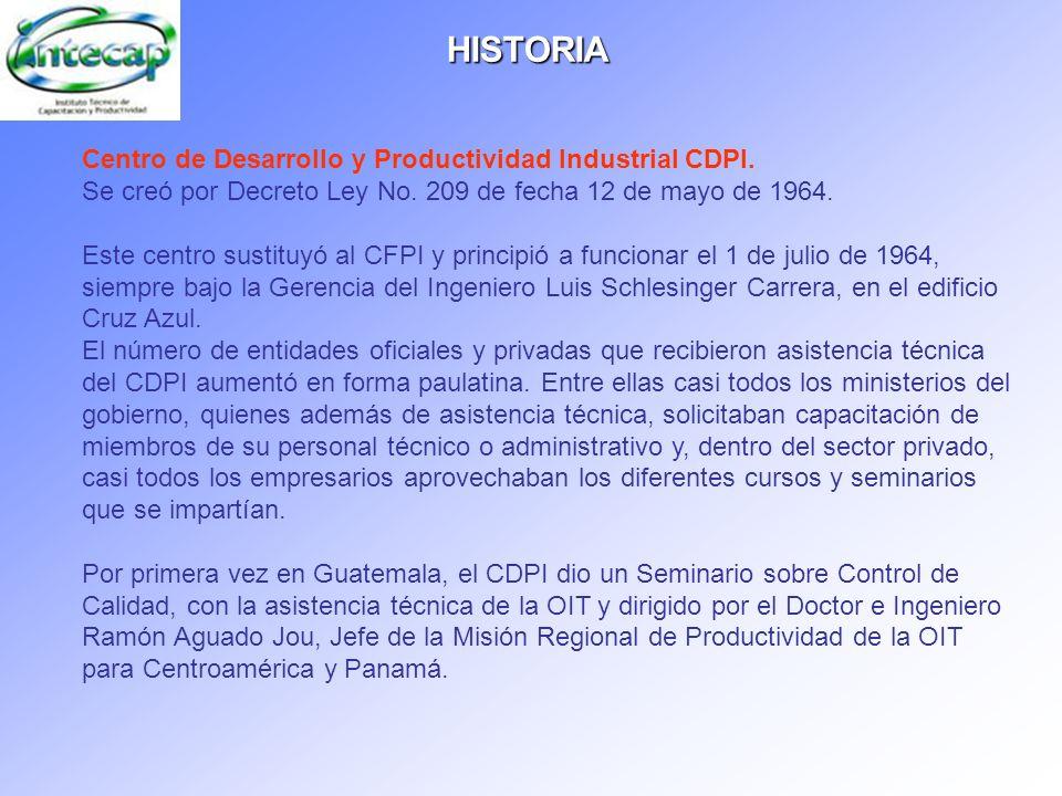 HISTORIA Centro de Desarrollo y Productividad Industrial CDPI. Se creó por Decreto Ley No. 209 de fecha 12 de mayo de 1964. Este centro sustituyó al C
