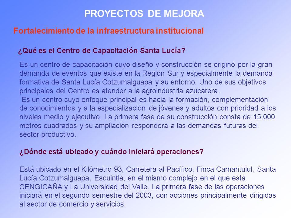 PROYECTOS DE MEJORA ¿Qué es el Centro de Capacitación Santa Lucía? Es un centro de capacitación cuyo diseño y construcción se originó por la gran dema