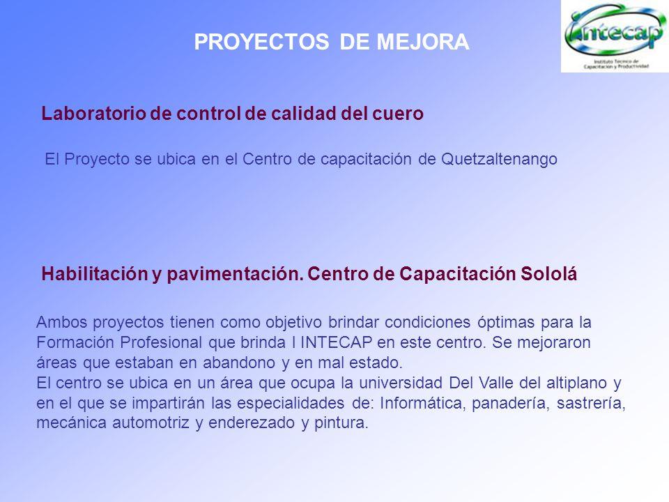 PROYECTOS DE MEJORA Laboratorio de control de calidad del cuero El Proyecto se ubica en el Centro de capacitación de Quetzaltenango Ambos proyectos ti