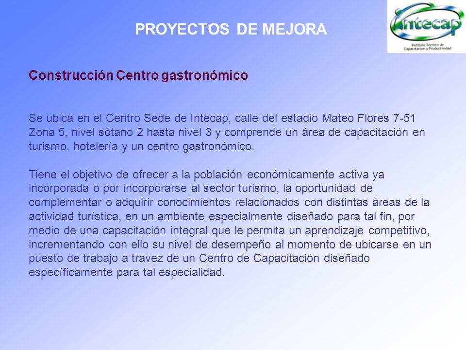 PROYECTOS DE MEJORA Construcción Centro gastronómico Se ubica en el Centro Sede de Intecap, calle del estadio Mateo Flores 7-51 Zona 5, nivel sótano 2