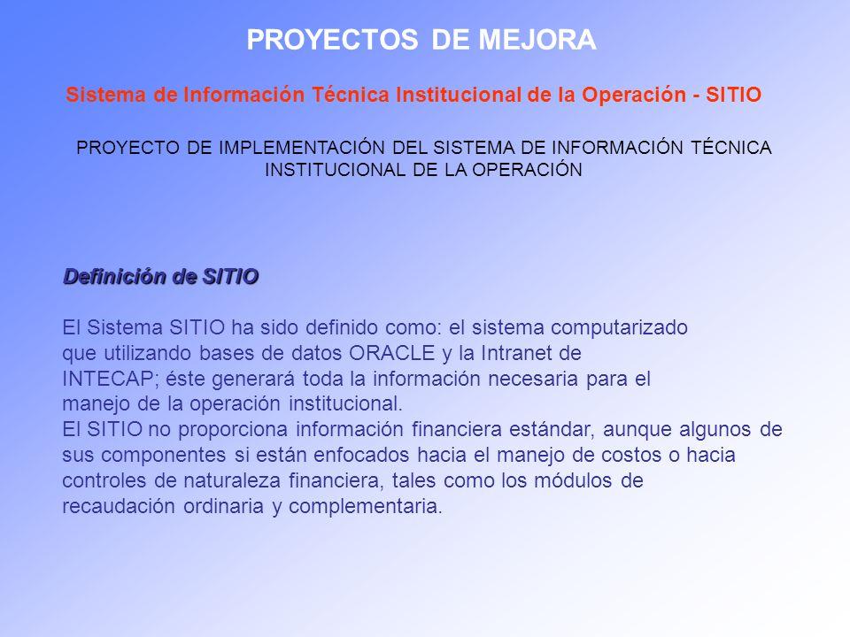 PROYECTOS DE MEJORA Sistema de Información Técnica Institucional de la Operación - SITIO PROYECTO DE IMPLEMENTACIÓN DEL SISTEMA DE INFORMACIÓN TÉCNICA