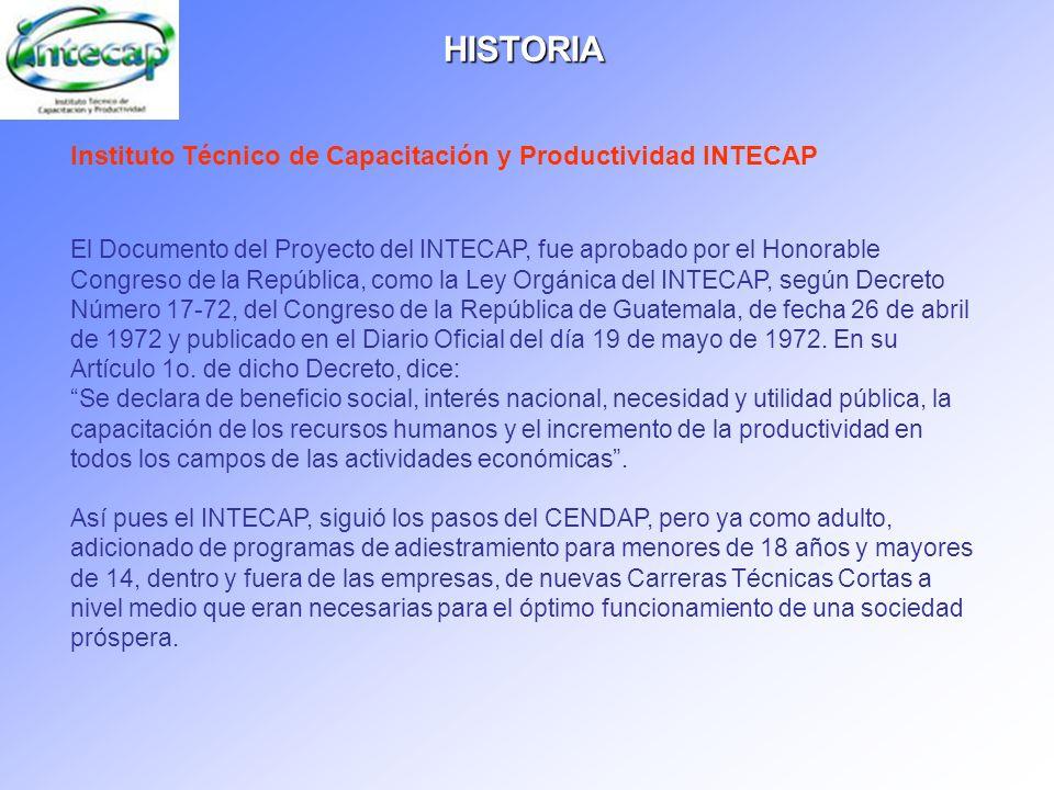 Instituto Técnico de Capacitación y Productividad INTECAP El Documento del Proyecto del INTECAP, fue aprobado por el Honorable Congreso de la Repúblic