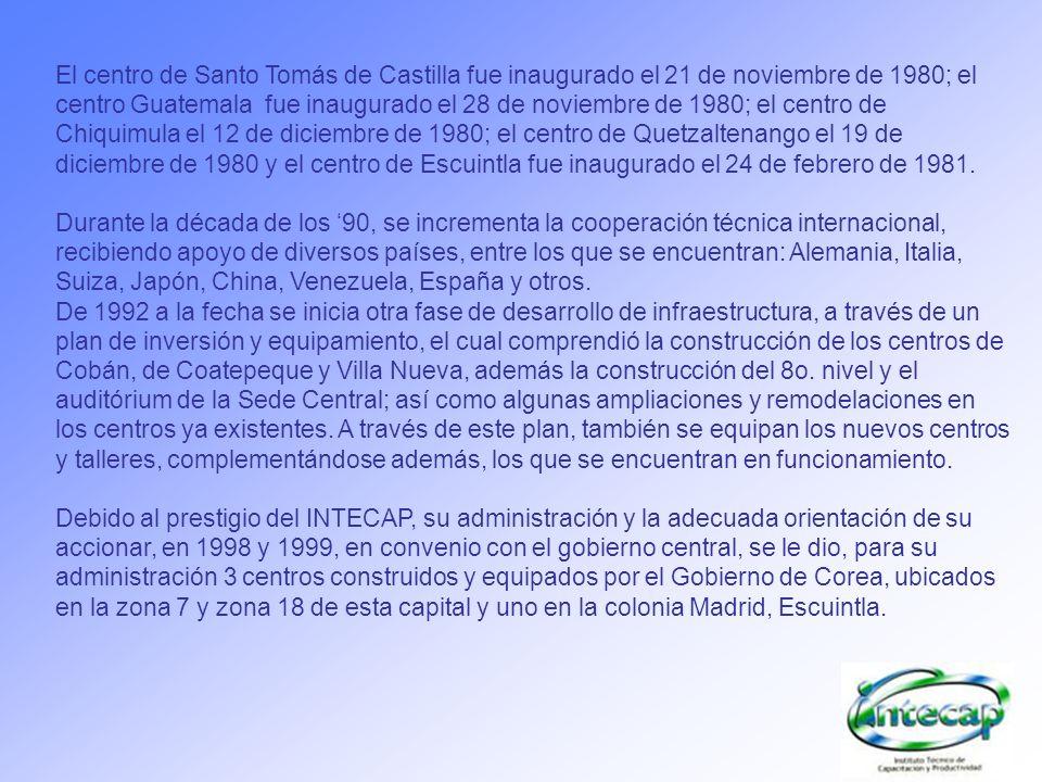 El centro de Santo Tomás de Castilla fue inaugurado el 21 de noviembre de 1980; el centro Guatemala fue inaugurado el 28 de noviembre de 1980; el cent