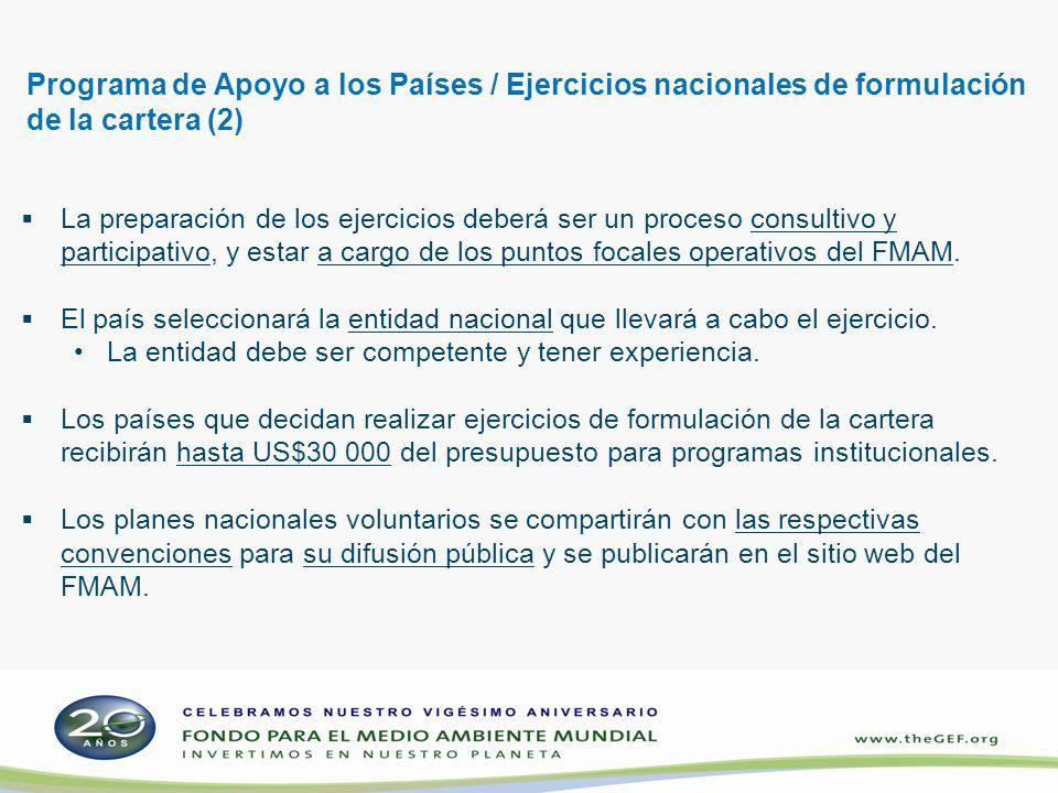 Programa de Apoyo a los Países / Ejercicios nacionales de formulación de la cartera (2) La preparación de los ejercicios deberá ser un proceso consult