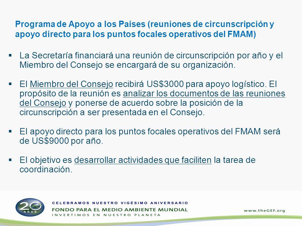 Programa de Apoyo a los Países (reuniones de circunscripción y apoyo directo para los puntos focales operativos del FMAM) La Secretaría financiará una reunión de circunscripción por año y el Miembro del Consejo se encargará de su organización.