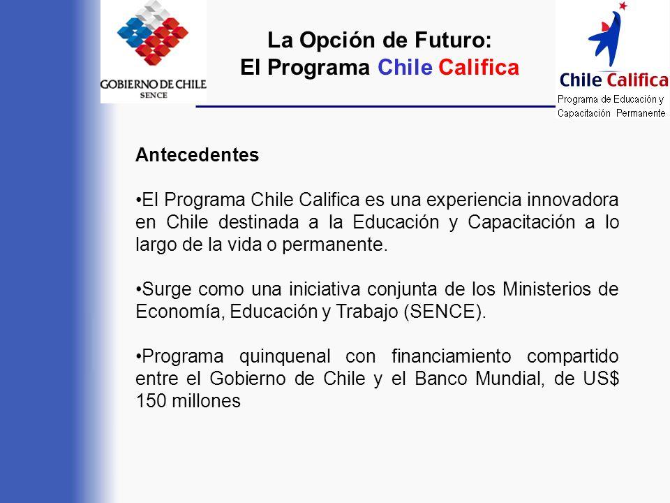 Antecedentes El Programa Chile Califica es una experiencia innovadora en Chile destinada a la Educación y Capacitación a lo largo de la vida o permane