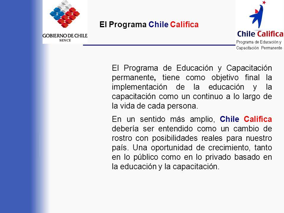 El Programa Chile Califica El Programa de Educación y Capacitación permanente, tiene como objetivo final la implementación de la educación y la capaci