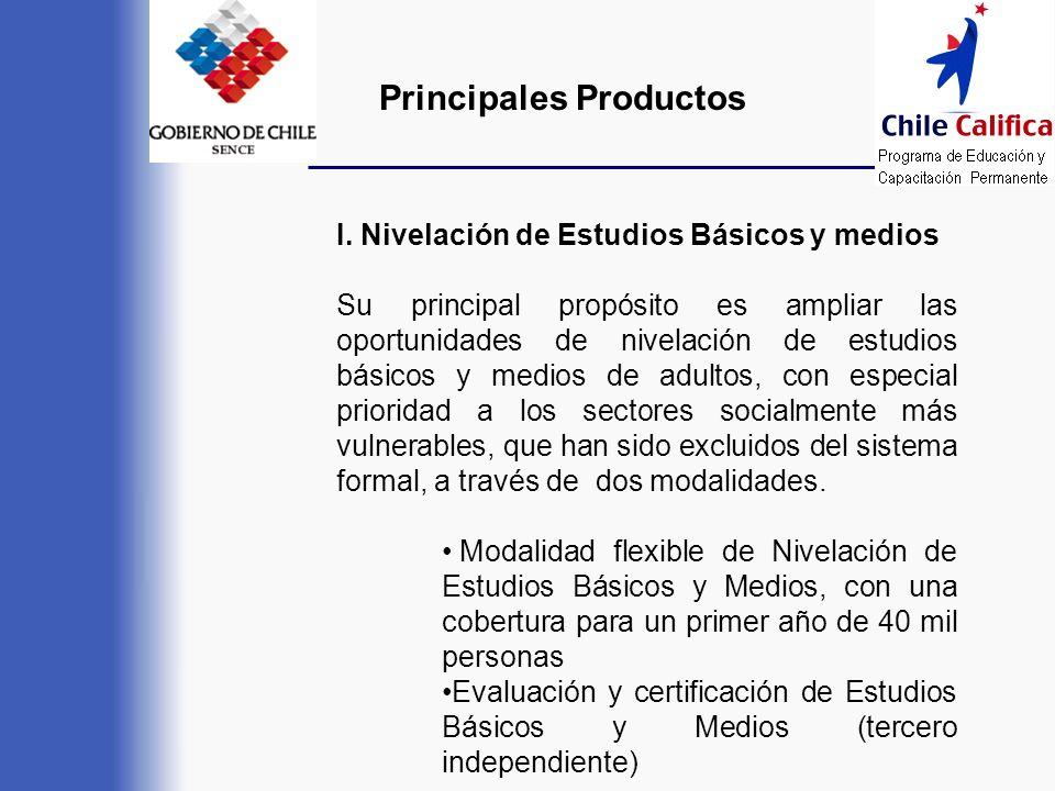 Principales Productos I. Nivelación de Estudios Básicos y medios Su principal propósito es ampliar las oportunidades de nivelación de estudios básicos